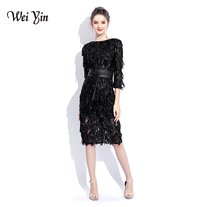 WEIYIN Black O-neck Long Sleeves Cocktail Party Dress Sheath Sequin Knee Length Elegant Lace Dress Formal Party Dress WEIYIN4818