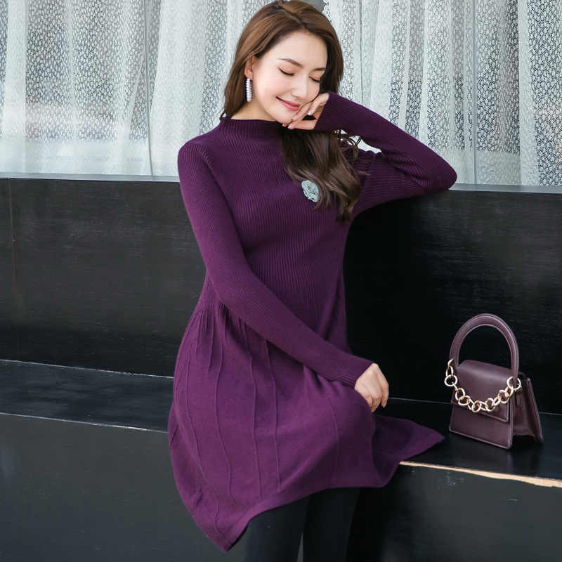 ed943492ef ... Autumn Winter Long skirt maternity Knitting dress Maternity Nursing  Sweaters Dress for Pregnant Women Clothes H340 ...