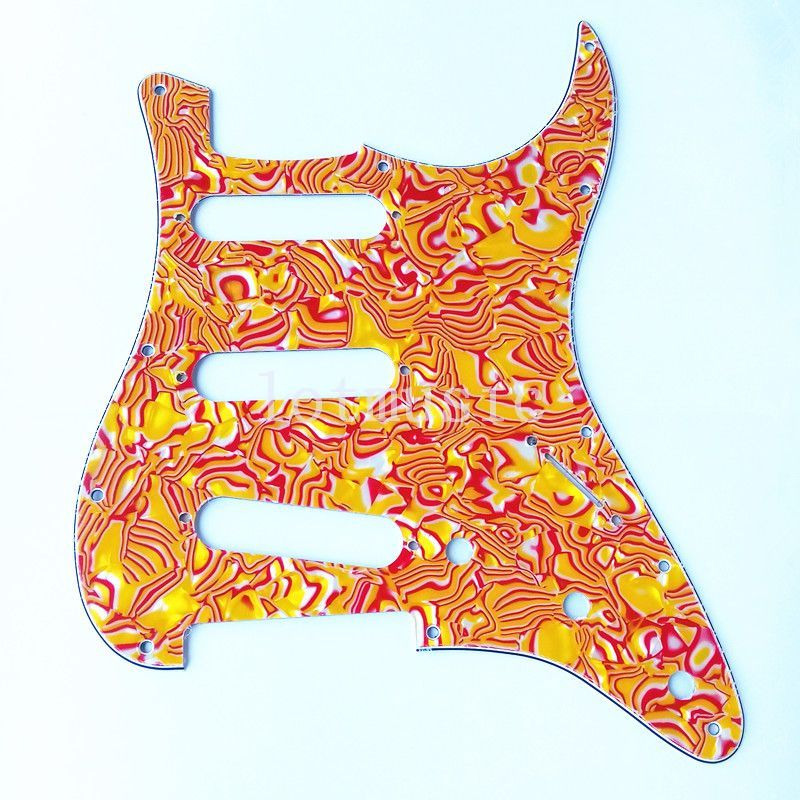 4 pcs 3 plis rouge et jaune coquilles guitare Pickguard pour garde-boue strat pièces de rechange