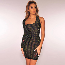 Sexy Spring Fashion Womens Reflective Sheer Bodycon One Shoulder Mini Dress Club Evening Party Dresses New Hot Skinny