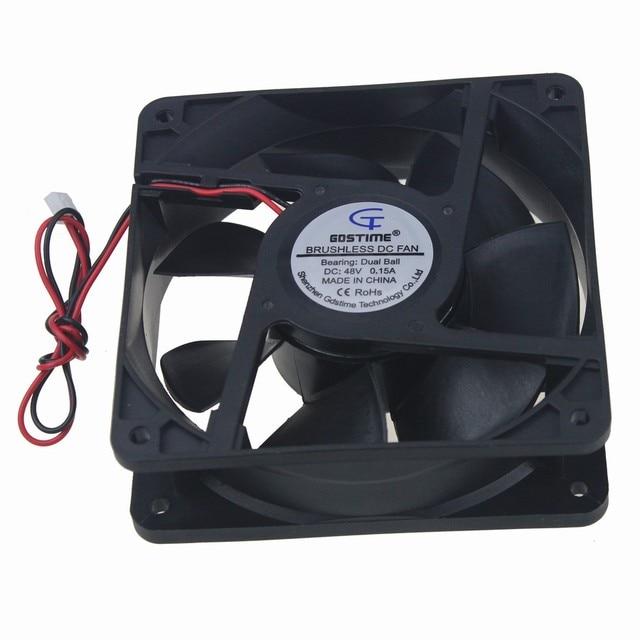 2 Unids Gdstime 120mm DC 48 V 12038 12 cm 0.15A Dual Ball Bearing Refrigerador Ventilador De Refrigeración