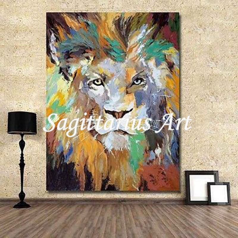 Hand-painted Abstract Oil Acrylic Canvas painting Wall Pop Art Lion Animal