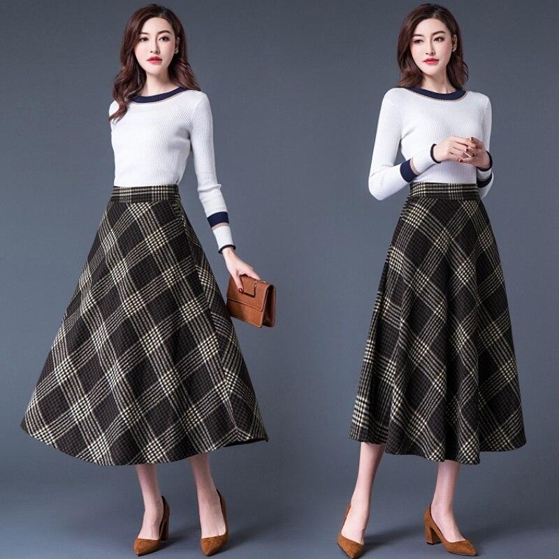 2019 High Waist Plaid Woolen Long Skirts Women Autumn Winter Gray Slim Fit Elastic waist Wool Skirt Casual Ladies Saia Longa in Skirts from Women 39 s Clothing