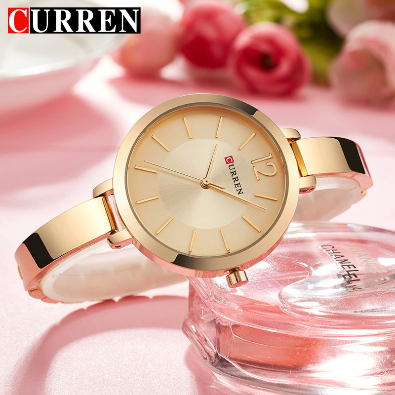 CURREN Luxury Brand Watch Women Fashion Dress Quartz Watch Ladies Full Steel Mesh Strap Waterproof Watches Relogio Feminino