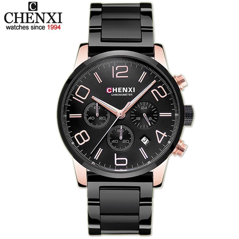 CHENXI Brand Top Luxury Ladies Gold Watch Women Golden Clock Female Women Dress Rhinestone Quartz Waterproof Watches Feminine 30
