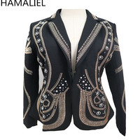 HAMALIEL Newest Luxury Designer Autumn Women Jacket 2018 Runway Rivet Beading Long Sleeve Turn Down Collar Lady Slim Jacket Coat