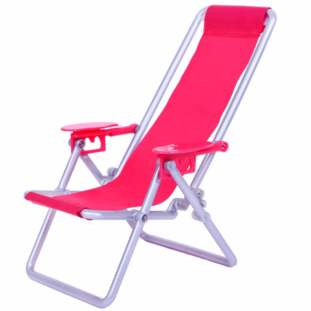 1 Pcs Foldable Beach Chair Lounge Pink Lovely Deskchair Furniture For Barbie Doll For Blythe Doll Accessories Dollhouse Play Toy
