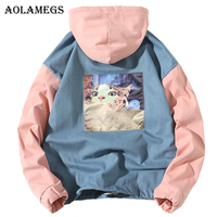 Aolamegs Hoodies Men Patchwork Cat Print Hooded Pullover High Street Fashion Cotton Hip Hop Streetwear O neck Hoodie Autumn