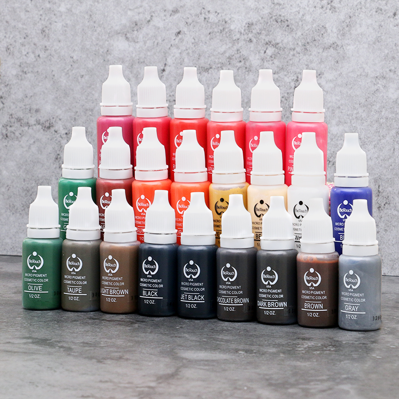Biotouch Tattoo Ink Set 8PCS Microblading Permanent Makeup 15ml Cosmetic Pigments 23 Colors Tattoo Ink for Eyebrow Body Makeup 7 colors permanent eyebrow lipstick microblading pigments paints ink for lip tattooing 15ml 1 2 oz