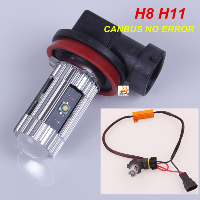PAIR  H11 H8 CREE Chips  LED Projector Fog Lamp Daytime Running Light DRL  CANBUS No Error Resistor