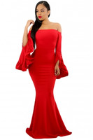 Adogirl Off Shoulder Pleated Bell Sleeves Party Evening Maxi Dress Bodycon Sheath Maxi Mermaid Long Dress