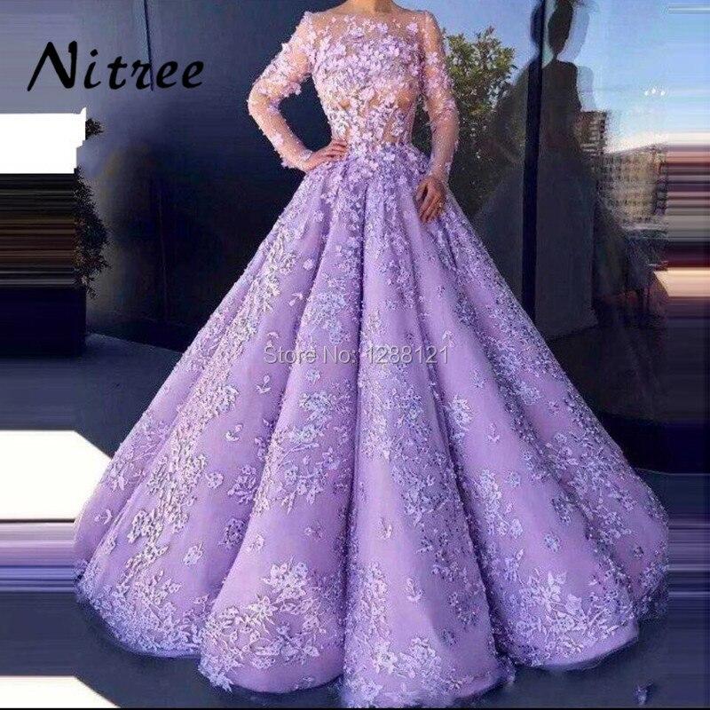 2018 Purple Lace Ball Gowns Evening Dresses Turkish Arabic In Dubai Formal Prom Gowns Dress For Weddings Kaftan Glitter Vestidos