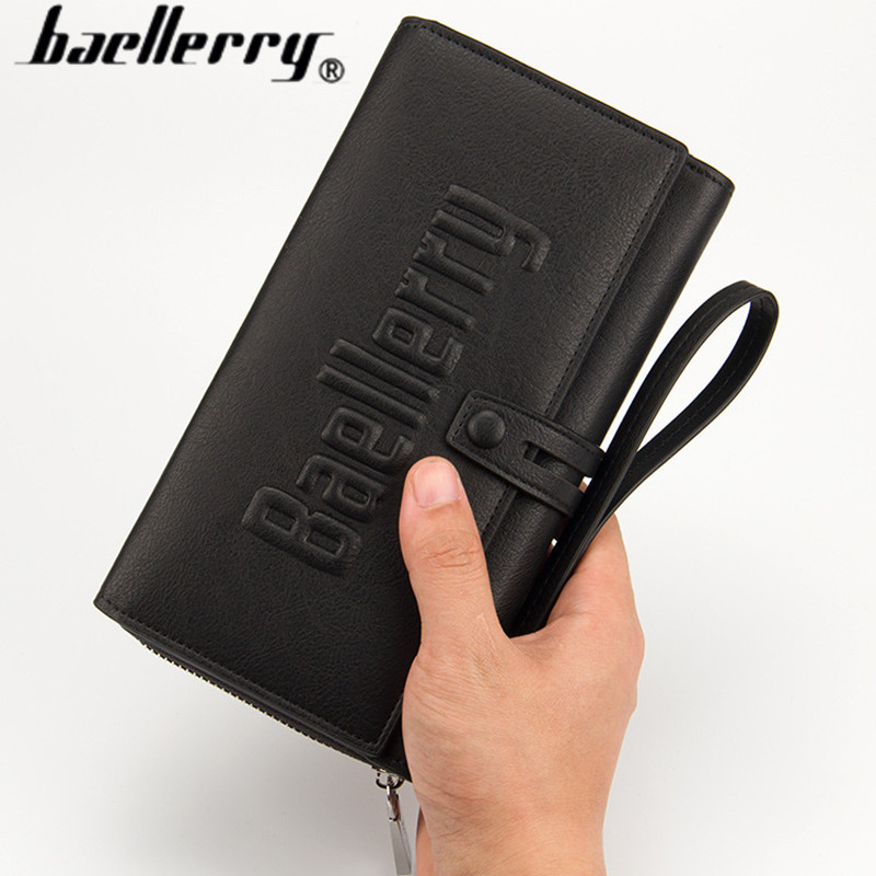 Baellerry Business Men Wallets New 2017 Solid PU Leather Long Wallet Portable Cash Purses Casual Wallets Male Clutch Bag 1393 2016 famous brand new men business brown black clutch wallets bags male real leather high capacity long wallet purses handy bags