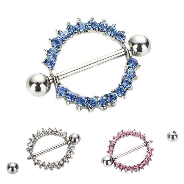 1 pcs Rhinestone Nipple Piercing Fashion Body Piercing Gem Paved Circle  Shield Piercing Rings Body Jewelry for Women Girls bc611dd7665f