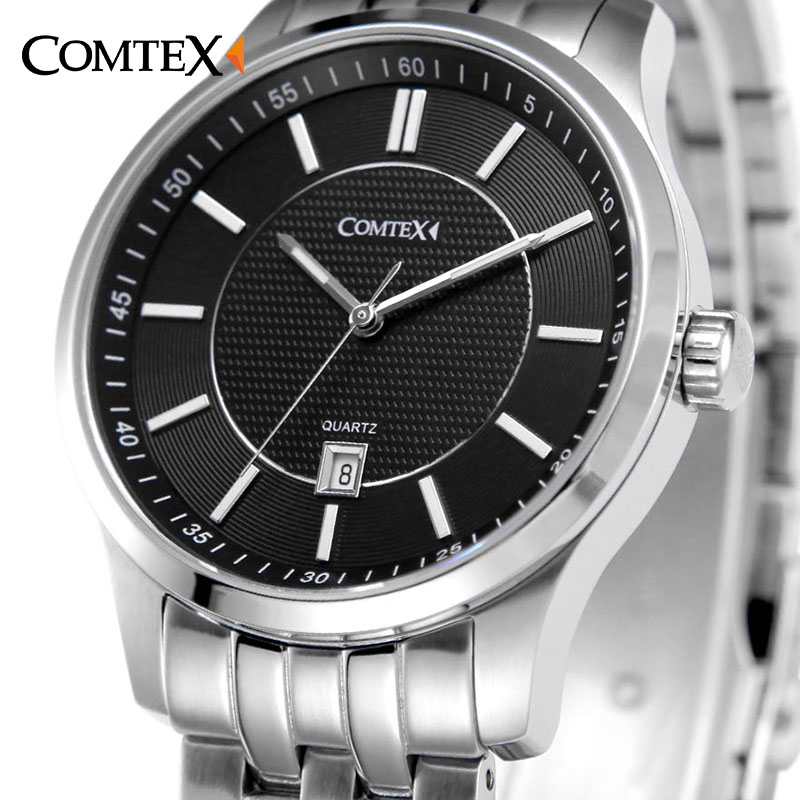 COMTEX Mens Watches Top Brand Luxury Watch Fashion Casual Watches Business Simple Stainless Steel Wristwatch Quartz Clock mens watch top luxury brand fashion hollow clock male casual sport wristwatch men pirate skull style quartz watch reloj homber