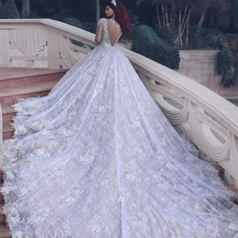 Luxury Cathedral Train Wedding Dresses Long Sleeve Sparkle Crystal ...