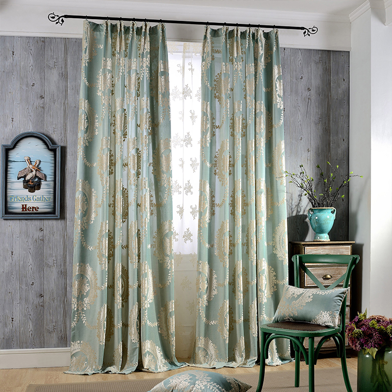 Us 20 0 Off Clic European Curtains Flocked Jacquard Tulle Green Brown Blue For Living Room Luxury Bedroom In