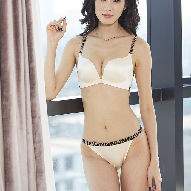 65bd6a071b1b0 Wriufred Patterned Shoulder Strap Without Rim Small Chest Gathered Underwear  Set Front Buckle Women Lingerie Bra