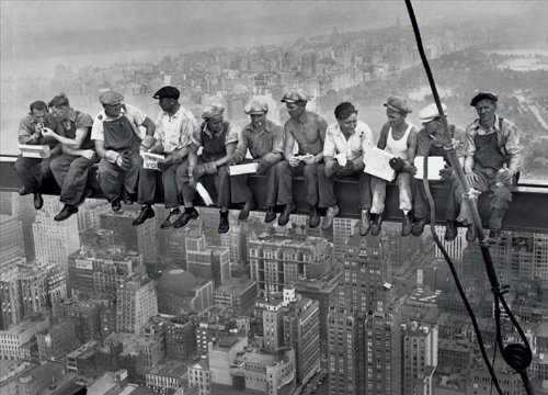 G0216 Lunch On a Skyscraper New York City Print Canvas Fabric Cloth Poster
