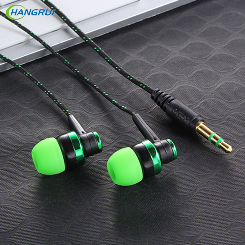 HANGRUI MP3 MP4 weirio Subwoofer earphone Clust Braided Rope Wire Brethyn Clust-glust Sŵn earphone earphone Ar gyfer ffonau iphone