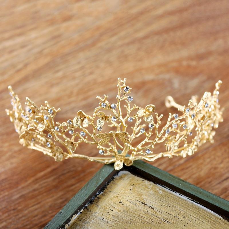 Vintage Baroque Wedding Bridal Hair Accessories Bridesmaid Dragonfly Women Girls Gold Crystal Tiara Crown Headbands 1