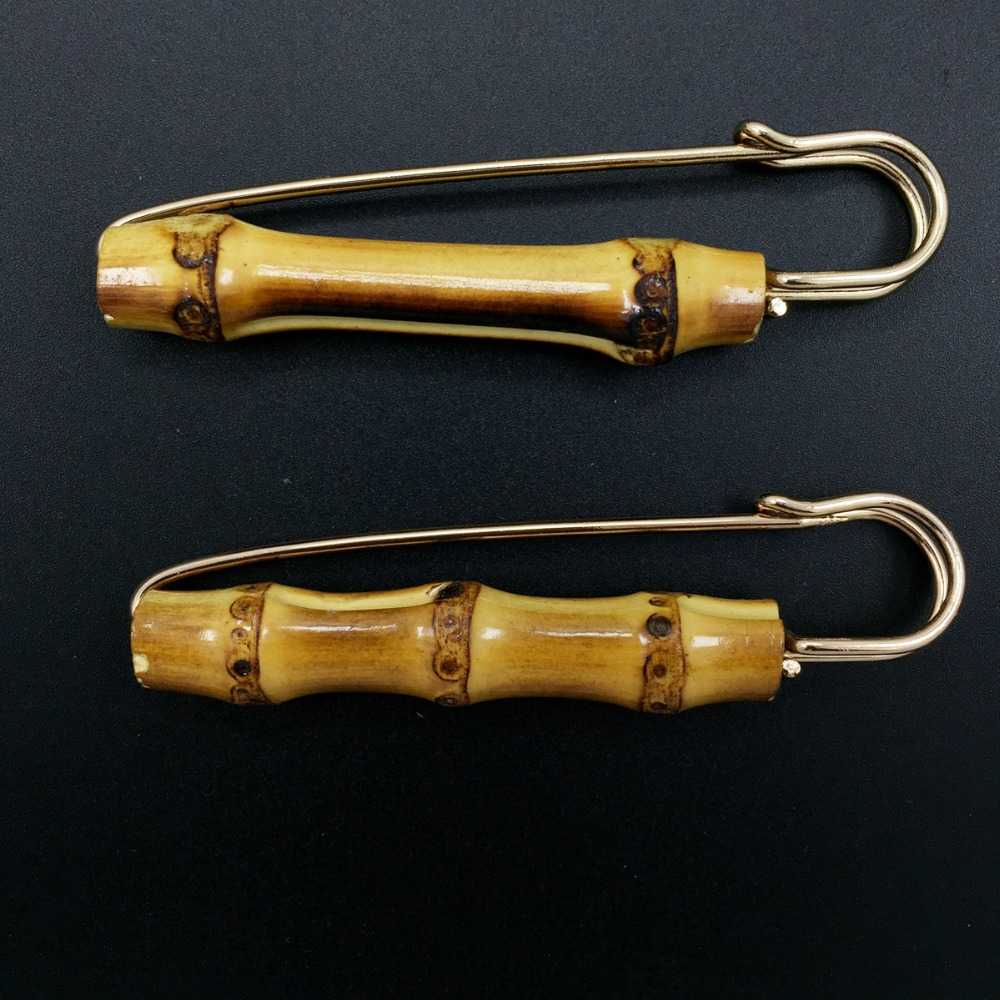 5PCS 8.5cm 3.35 Antique Natural Bamboo Metal brooches safety pins for women bamboo joint Corsage