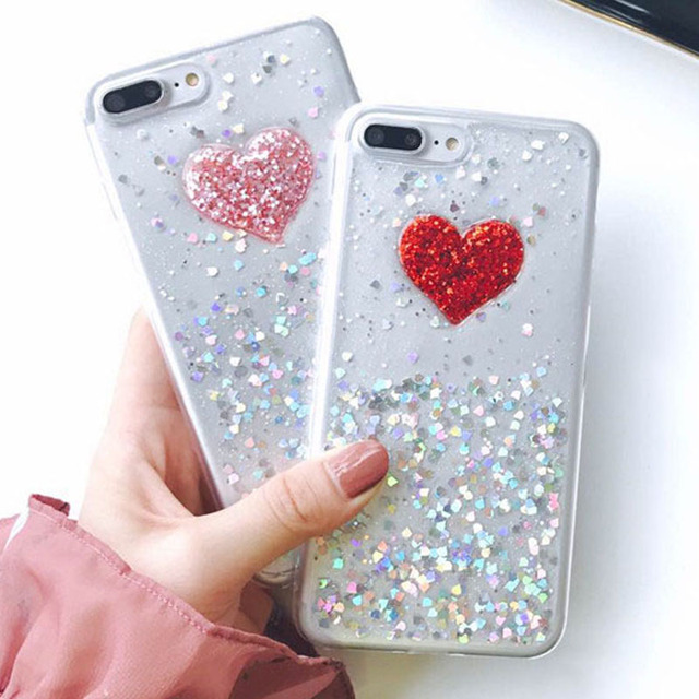 Cute 3D DIY Bling Sparkle Glitter Powder Love Heart Case For iphone 7 6 6S  Plus db744c504857