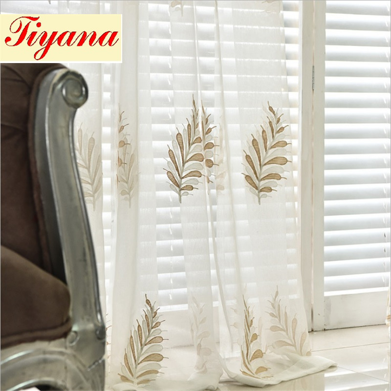 Sheer Modern Leaves Flower Tulle Window Screen Fancy Living Room Curtains  Window Curtain Set Valance Embroidered Tulle Su095 *15 In Curtains From  Home ...