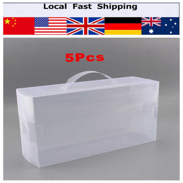 5pcs Foldable Clear Plastic Storage Shoe Boot Boxes Case Women Ladies Stackable Shoe Box 30X18 X10CM  sc 1 st  AliExpress.com & 5pcs Foldable Clear Plastic Storage Shoe Boot Boxes Case Women ...