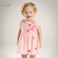 DB5067 dave bella summer baby girl princess dress butterfly appliques dress baby wedding dress kids birthday cute clothes dress