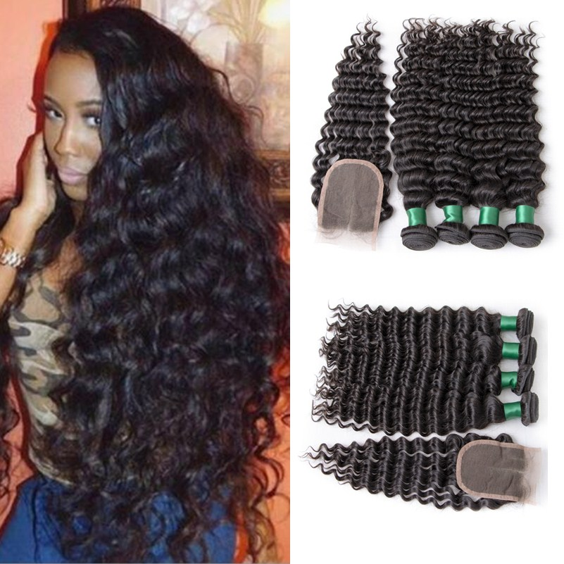 Brazilian Virgin Hair Deep Wave 3 Bundles With Closure