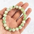 9mm Genuine Natural Dushan Jade Verde Rodada Pulseiras de Cristal Para As Mulheres Charme Pulseira Trecho