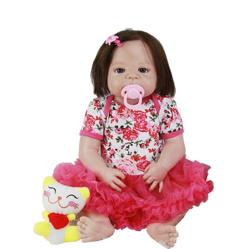 23 Inch Silicone Vinyl Reborn Baby Girl Dolls Lifelike Realistic Newborn Babies Toy With Real Human Hair Kids Birthday Xmas Gift casio ba 110sn 7a