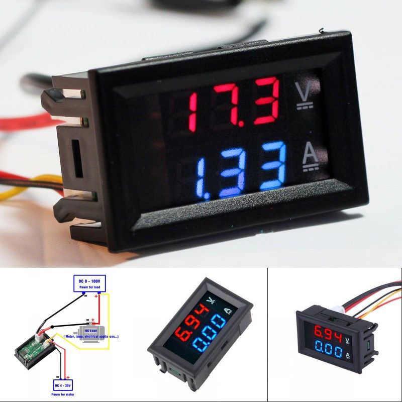 Voltímetro Digital CC 100V 10A panel voltímetro Digital medidor Azul Rojo LED Amp medidor de voltaje Digital Dual