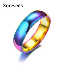 ZORCVENS Trendy Gold-color Women's Ring Magic Color Stainless Steel Wedding Engagement Rings(China)