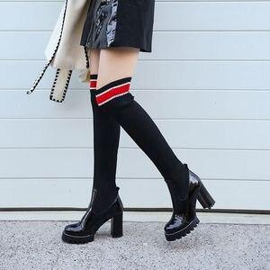 Image 3 - ALLBITEFO in vera pelle + lana di Lavoro A Maglia delle donne stivali di Alta qualità di modo delle donne di alta tacco donne stivali alti al ginocchio Autunno Inverno