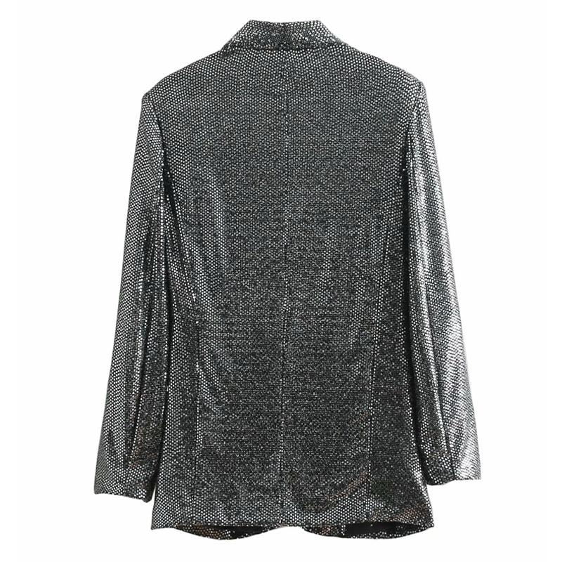 2019 New Vintage Long Blazer Women Long Sleeve Silver Sequins Elegant Office Blazers Suit Spring Autumn Casual Loose Coat Female