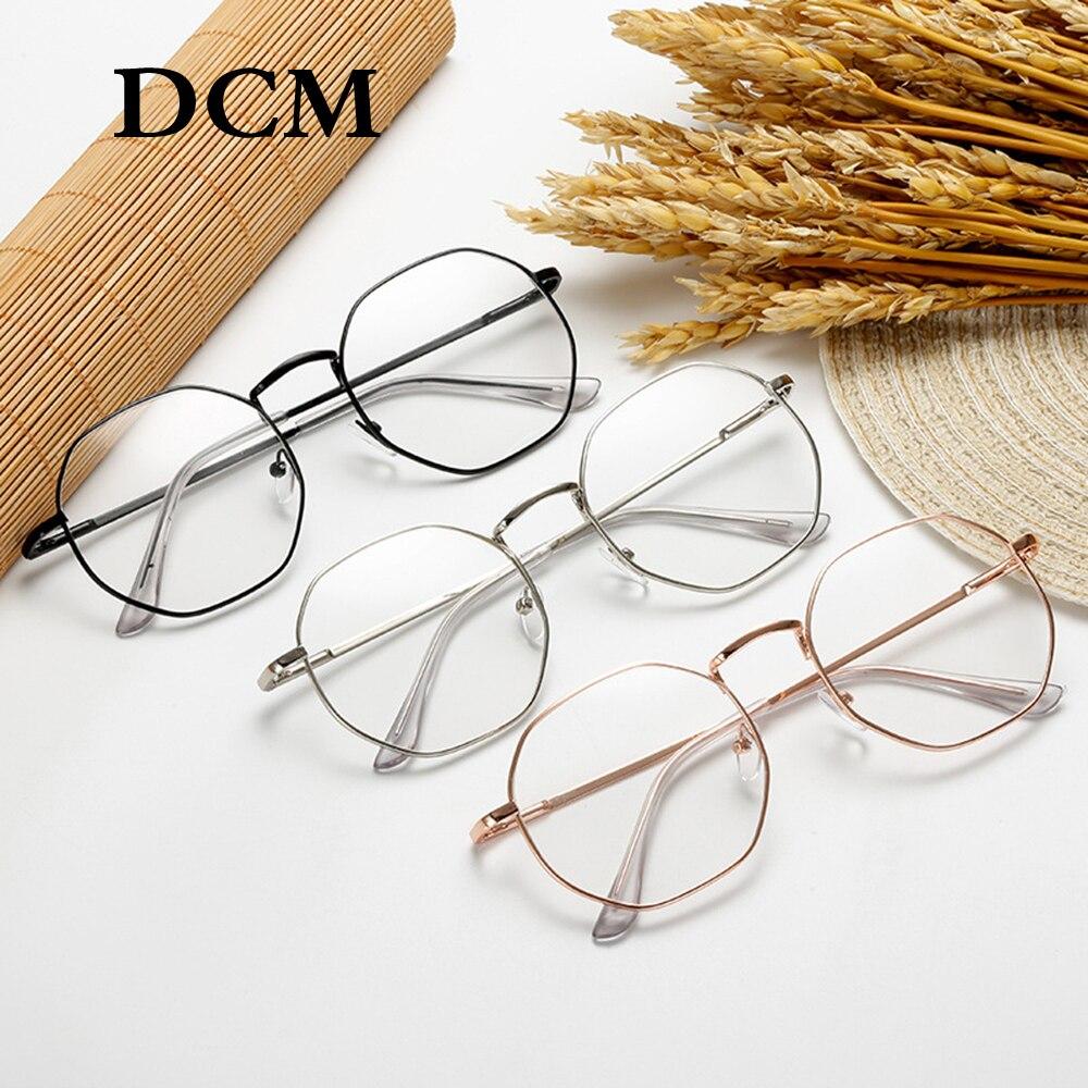DCM Retro Transparent Black Gold Eyeglasses Women Men Glasses Frame Optical Polygonal Eyewear Feminino Oculos De Grau Femininos