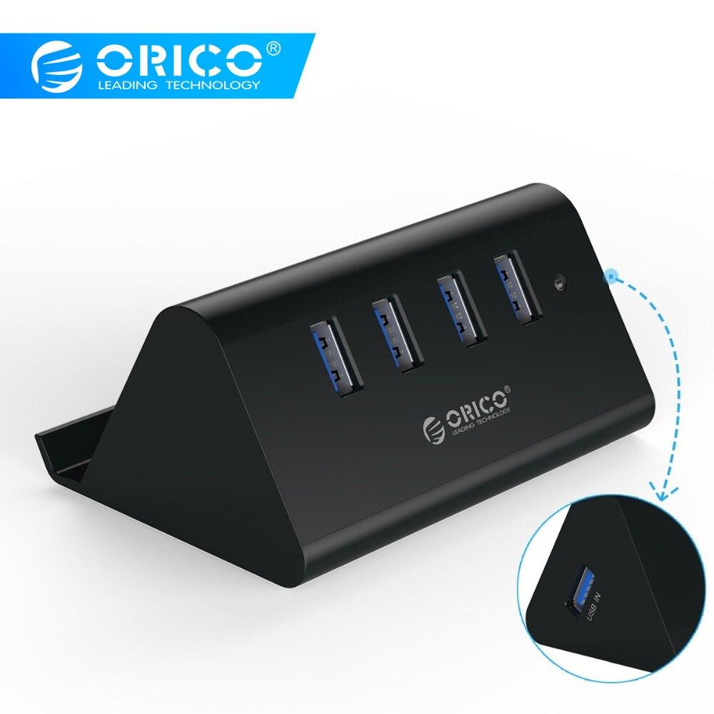 ORICO SHC-U2/U3 High Speed Mini 4 ports USB 2.0/USB 3.0 HUB mit Telefon Tablet Halter-Schwarz/ weiß