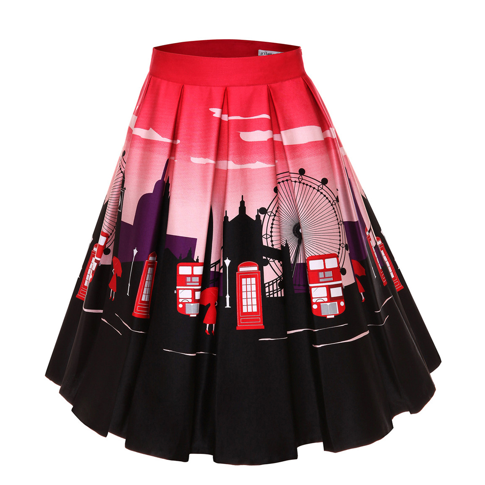 Image 2 - 4XL Floral Print 50s 60s Skirts Plus Size Big Swing Retro Skirt High Waisted Pleated Skirt 50s Rockabilly Vintage Women ClothingSkirts   -