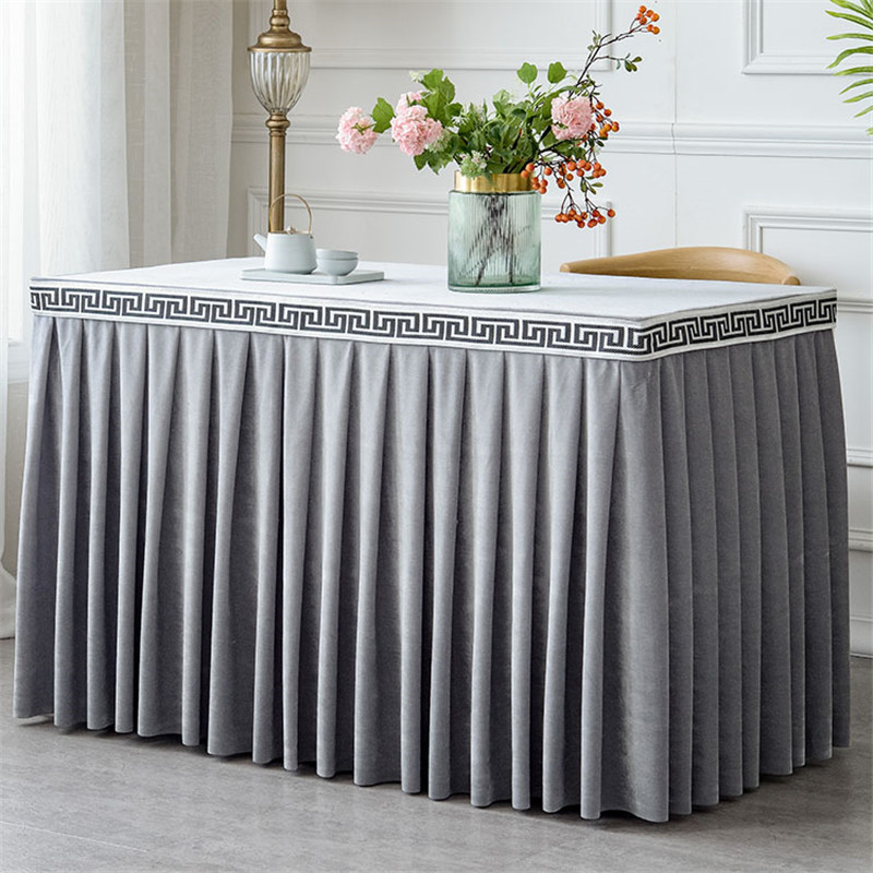 Pleated Flannel Hotel Table Skirt For Table Cloth Table Cover Wedding Party Banquet Decor One Piece Table Skirting