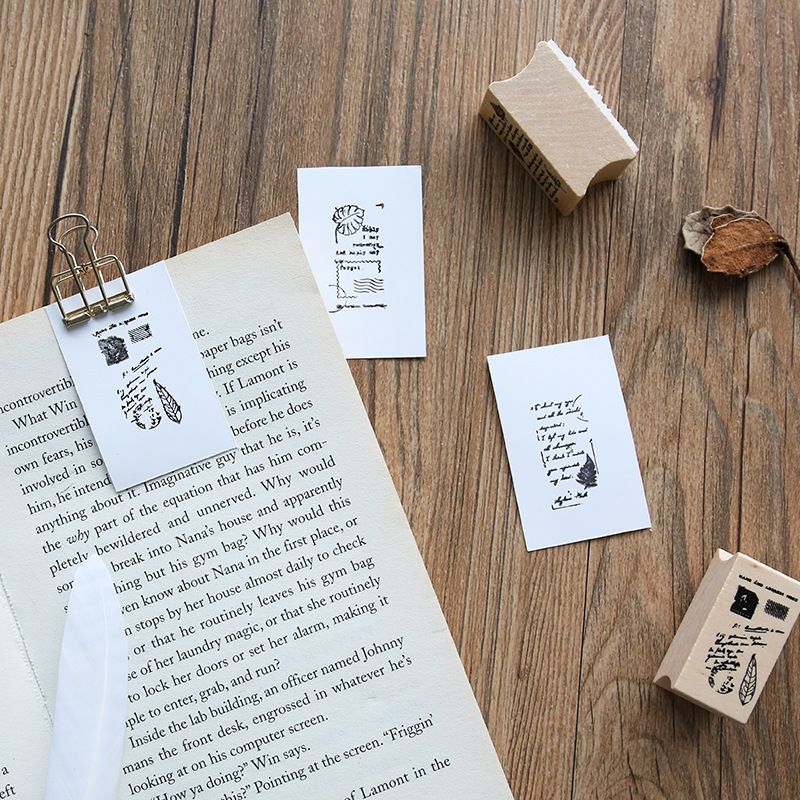 Hot Selling Letter Lovers Wood Stamps Leaves Of Poetry Log Rubber Hands Album Photo Journal Decorations DIY Card Making Stamps