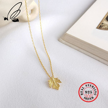 Leaf Pendant Necklace 925 Sterling Silver Gold Chain Female Personality Maple Clavicle Women Jewelry Kolye Collier Femme