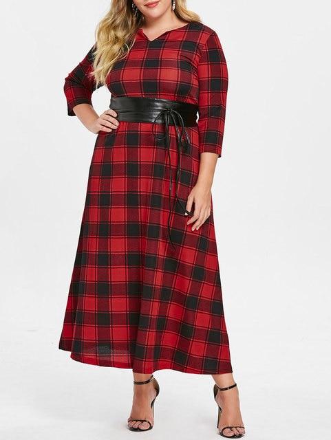 XL 5XL Plus Size Knitted Red Plaid Dress Women Gothic Elegant Autumn ...