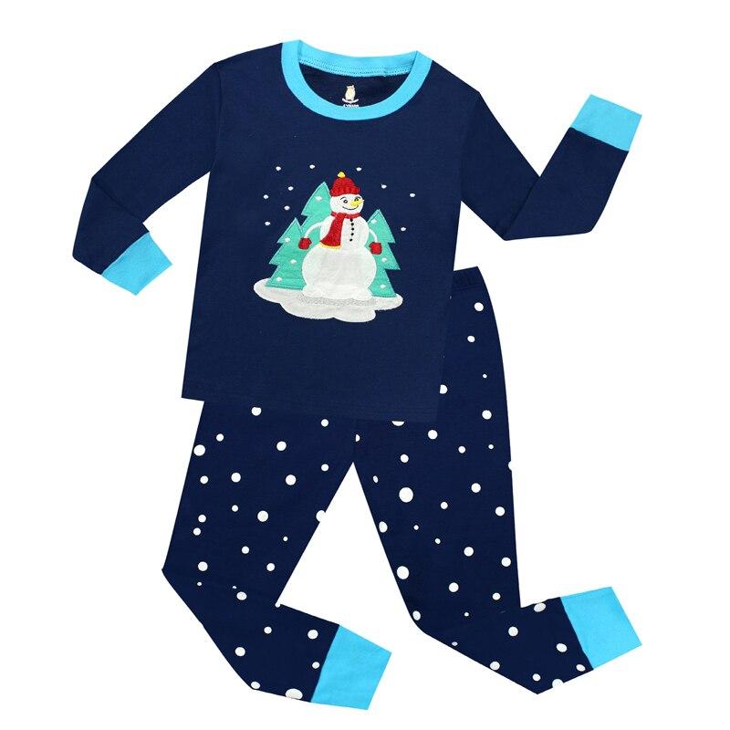 New Long Sleeve Christmas Holidays Boys Pajamas Sets Kids Snowman Christmas Pajama Pyjamas Kids Children Sleepwear Baby Clothes