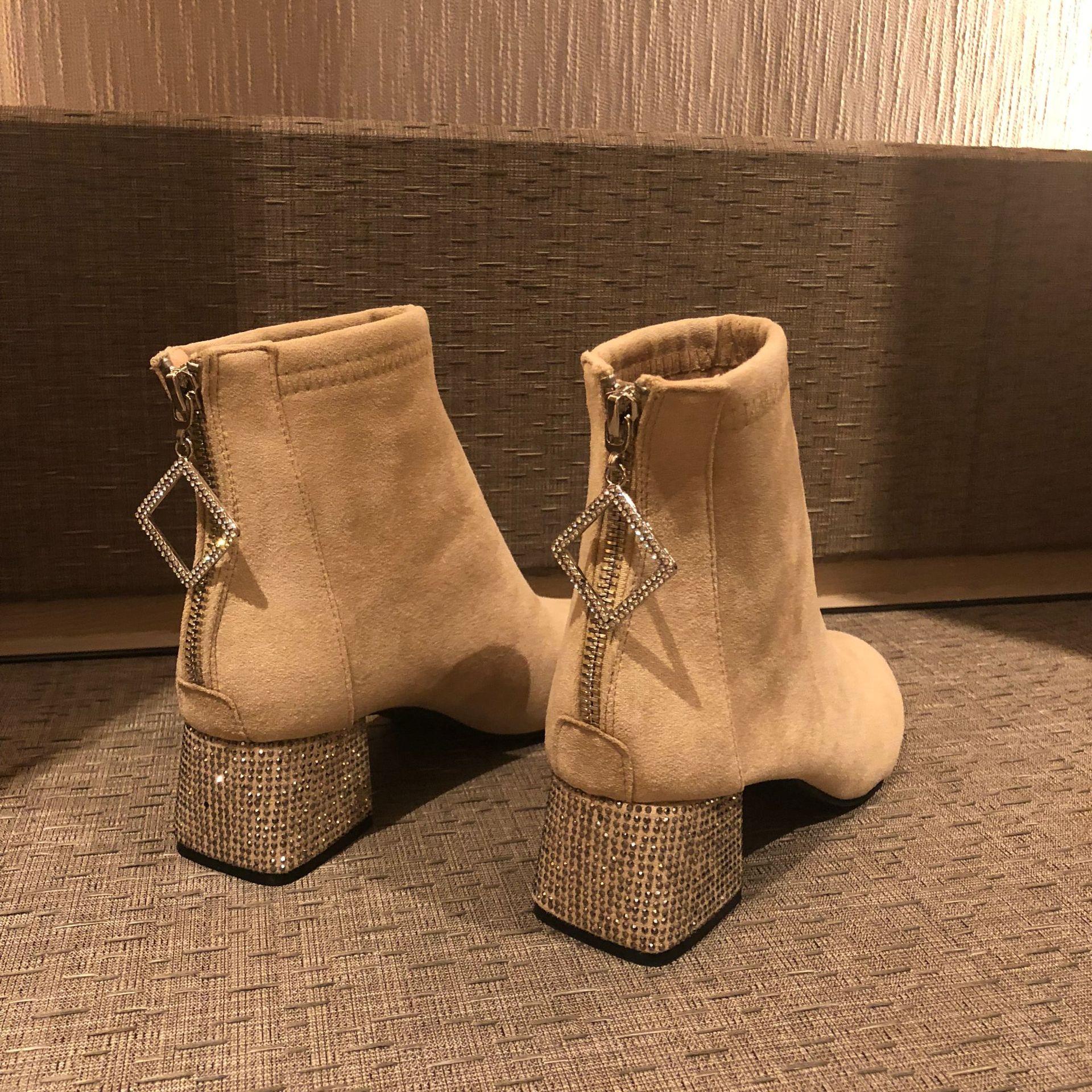 4347 Flock Bottes À Hauts Cheville Dames 2018 Femmes Parti Automne Talons Zipper Strass 3539 Chaussures Épais Taille FlTKJ31c