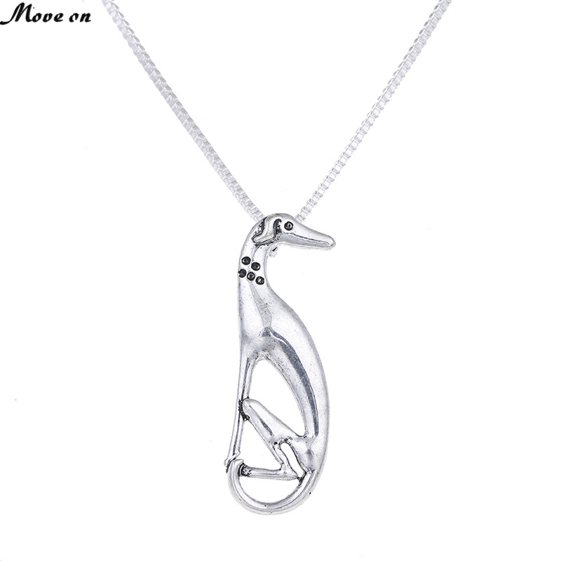 1Pc Sitting Greyhound Necklace Dog Pendant Whippet Italian Sight Hound Galgo Necklaces Pendants Choker Necklace Women