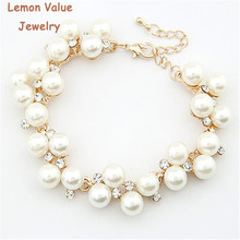 Value pulseras imitation lemon charms bijoux pearl femme rhinestone beads luxury