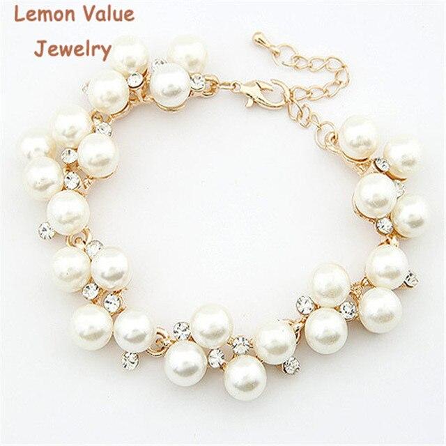 Lemon Value New Fashion Bijoux Luxury Charms Imitation Pearl Rhinestone Crystal Beads Bracelet Women Jewelry Femme Pulseras D032