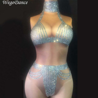 new Women Bodysuit Sleeveless Stretch Sexy Perspective Performance Celebrate luxurious Dance outfit